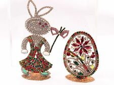 Standing large bunny rabbit flowers Easter ornament Czech glass rhinestone egg