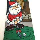 "HALLMARK ""Golfing Santa"" Necktie, 58"" Blue, (Ugly Xmas Sweater), Novelty Holiday"