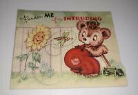 Anthropomorphic Bear Sunflower Dragonfly Birthday Card Vintage Die Cut BY