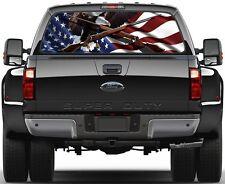 USA American Flag Weatherby Rifles Eagel  Rear Window Graphic Decal  Truck Van