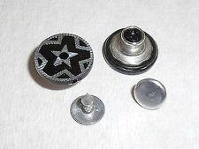 2 Stück Jeansknopf Nietenknöpfe Jeans Knöpfe 15,4 mm schwarz silber  #338#