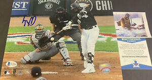 Luis Robert White Sox Signed 8x10 Photo Beckett WITNESS COA 1st Hit Imperfect ~