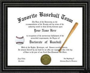 Baseball Lover's Doctorate Diploma / Degree Custom made & Designed for you