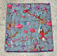 Gray Kantha quilt- Blanket, Bedspread in Gray Color, Bird Kantha Quilt Bedcover