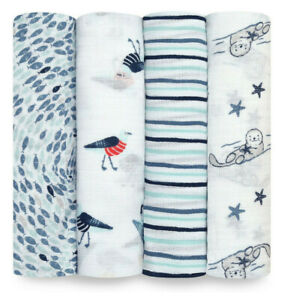 Aden + Anais Essentials Seashore 4 Pack Swaddles Baby Bedding Brand New