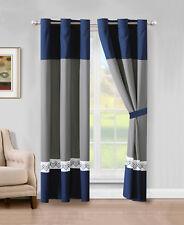 4-P Riya Diamond Meander Greek Key Stripe Curtain Set Navy Blue White Gray Drape
