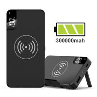 Qi Wireless Power Bank 300000mAh Backup Fast Portable Charger External Battery