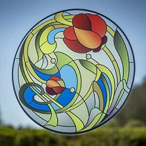 Stained Glass Effect Window Sticker - Stained Glass Tulip Flower Cling