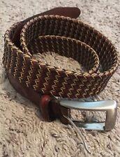 Torino Men's Italian Woven Cotton & Leather - Cognac/Natural 6347 - 36 Waist