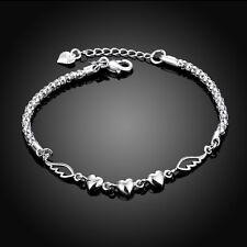 925 Silver Plated Women's Love Heart Charm Beads Bracelet Bangle Sweet Gift US