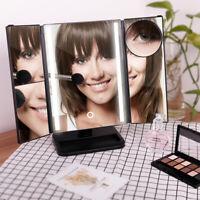 Vanity Travel Makeup Mirror 24 LED Light Magnifying Tri-Fold Dress Table Mirror