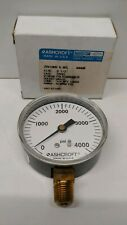 New Old Stock Ashcroft 25 0 4000 Psi 14 Pressure Gauge 25w1005h02l 4000