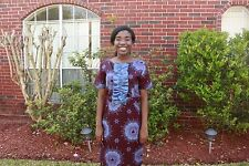 Cute Ankara Business Dress Ruffles Size L Blue & Burgundy