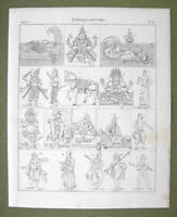 INDIA Mythology Gods Vishnu Buddha Krishna Lama Monks - 1825 Antique Print