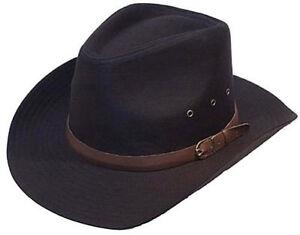 Black 100% Cotton Cowboy Stetson Style Hat 57CM S New