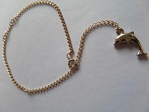 Delphin Charm Gold Farbe Fußkette/Knöchel Kette NEU