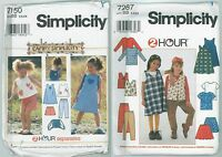 Simplicity Patterns 7287 & 7150 Girls Size 5 - 6 - 6x Uncut Factory Folded OOP