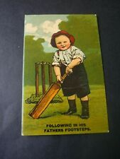 Vintage Comic Cricket postcard, Following in his Fathers Footsteps