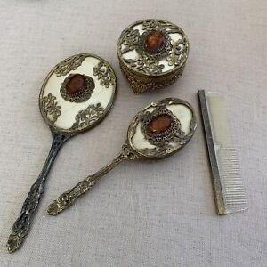 Vintage Victorian Antique Gold-Tone Comb Amber Stone Brush Comb Mirror Box 4 Pcs