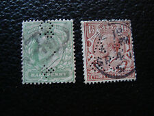 ROYAUME-UNI - 2 timbres obliteres (perfores) (A27) stamp united kingdom