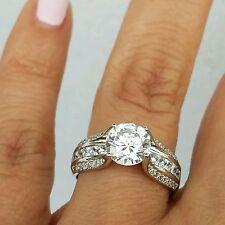 3 carat 14k white Gold Round man made diamond Engagement Wedding Ring s 5 6 7 8