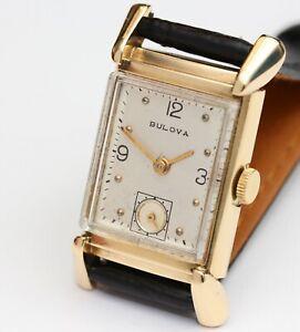 14K Gold vintage BULOVA 21 Jewel Mens Wristwatch c.1940 - Working Order