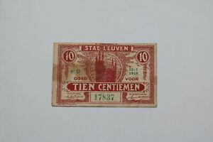 BANKNOTE BELGIUM 10 CENTIMES 1918 LEUVEN B21 BEL97