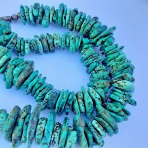Turquoise and Sterling Silver Necklace Chunky Large Southwestern