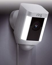 Digital Ring Spotlight Cam Wired Outdoor Rectangle Security Camera Home White