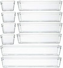 Clear Plastic Drawer Organizer Tray for Vanity Cabinet (Set of 10)