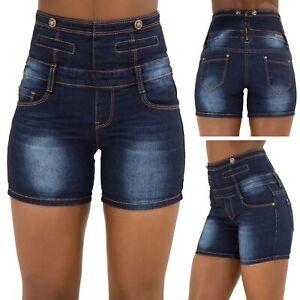 Womens Ladies High Waisted Shorts Jeans Hotpants Summer Blue Denim Shorts