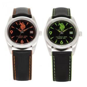 Orologio Donna U.S. POLO HOLDEN Vera Pelle Nero Verde Arancione Sub 50mt