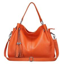 Women Genuine Cowhide Leather Shoulder Tassels Bag Cross Body Tote Handbag Purse