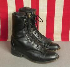 Vintage Laredo Black Leather Roper Boots Western Sz.6 Riding Equestrian Nice!