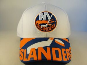 New York Islanders NHL Reebok Flex Hat Cap Size L/XL White Blue Orange