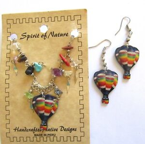 Spirit of Nature Earrings & Necklace Set HOT AIR BALLOONS blue red white yellow