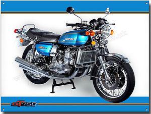 GT750 MOTORCYCLE (MAUI BLUE) METAL SIGN.VINTAGE SUZUKI MOTORCYCLES (A3)