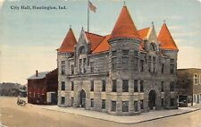Huntington Indiana~City Hall~Store Next Door~Building Behind~1911 Postcard