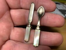 Mother of Pearl mid century Knife Cufflink (1) and Spoon Lapel Pin (1) Free Ship