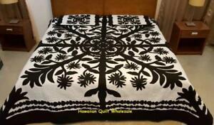 Hawaiian Quilt  BEDSPREAD 100% hand quilted/hand appliqué 2 shams LILIUOKALANI