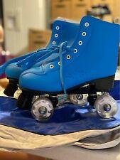 Women's Leather Blue High-Top Roller Skates Light Up Wheel US size 7.5, 40   BB