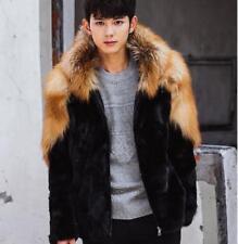 Mens Oxford Thick Fur Coat Parka Slim Long Sleeve Hooded Overcoat Jacket Warm