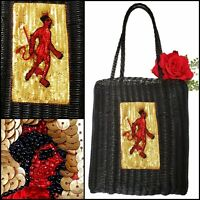 Vintage DEVIL Sequins Beads Red Gold Tote Bag Goth Costume Cosplay Halloween