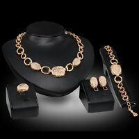 Women 18K Gold Plated Africa Dubai Wedding Party Necklace Earring Jewelry Set