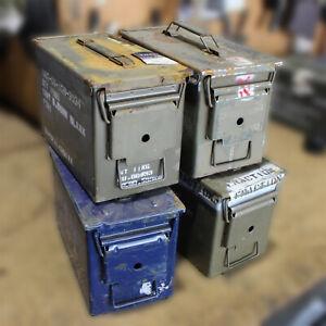 "4 X 50 CAL Ammo Box Steel Box Tool Box Ex Army Used ""GRADE C"" 4 X Pack Bundle!!"