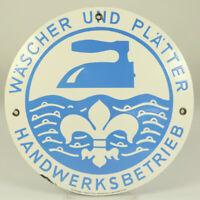 Wäscher & Plätter Emailschild Ø 24,5 cm Wäscherei Handwerk Vintage 50er