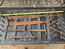 """Antique Strap Hinge & Entry Set 28"""" Gothic Hand forged iron Original 18th 19thC"""