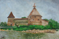 Oreshek Castle St.Petersburg Oil Canvas Board 8x12 Hand Russian Artist Painting