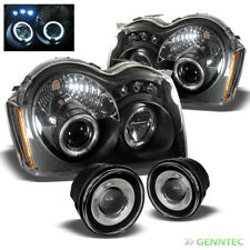 For 05-07 Jeep Grand Cherokee LED Projector Blk Headlights+Halo Pro Fog Lamp