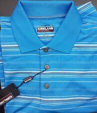 KS KIRKLAND Signature Men's Polo Golf Shirt Short Sleeve Blue Stripe  M Medium
